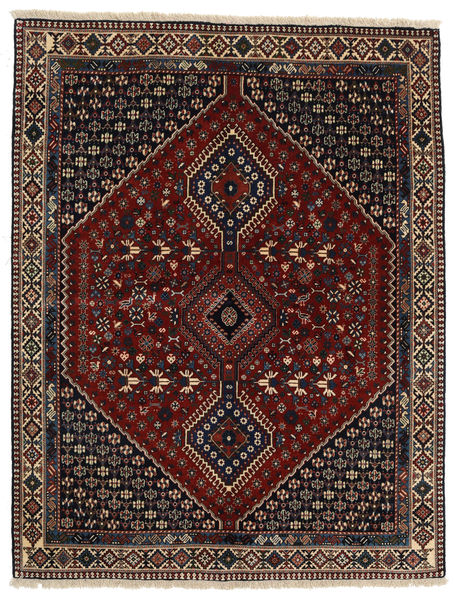 Yalameh Rug 156X200 Authentic  Oriental Handknotted Black/Light Brown/Dark Red (Wool, Persia/Iran)