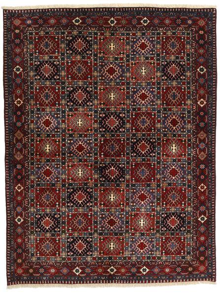 Yalameh Teppe 153X201 Ekte Orientalsk Håndknyttet Svart/Mørk Rød (Ull, Persia/Iran)