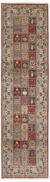 Moud Rug 80X295 Authentic  Oriental Handknotted Hallway Runner  Light Brown/Dark Red (Wool/Silk, Persia/Iran)
