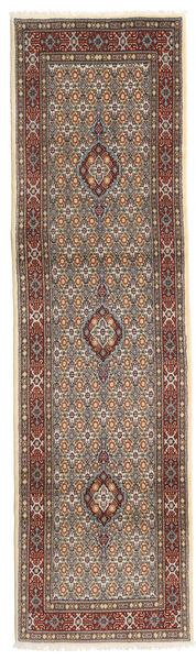 Moud Rug 79X280 Authentic  Oriental Handknotted Hallway Runner  Light Brown/Beige (Wool/Silk, Persia/Iran)