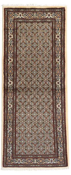 Moud Rug 80X193 Authentic  Oriental Handknotted Hallway Runner  Light Brown/Beige (Wool/Silk, Persia/Iran)