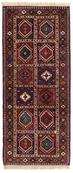 Yalameh Matto 85X201 Itämainen Käsinsolmittu Käytävämatto Tummanpunainen/Musta (Villa, Persia/Iran)