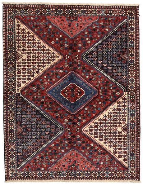 Yalameh Rug 150X197 Authentic  Oriental Handknotted Dark Red/Dark Grey (Wool, Persia/Iran)