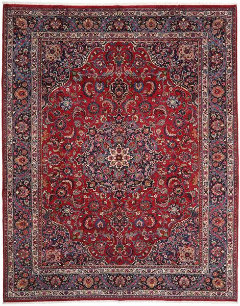 Mashad Matto 303X377 Itämainen Käsinsolmittu Tummanpunainen/Tummanruskea Isot (Villa, Persia/Iran)