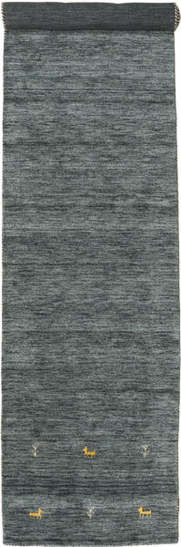 Gabbeh Loom Two Lines - Dark Grey/Green Rug 80X450 Modern Hallway Runner  Dark Green/Light Grey (Wool, India)