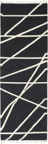 Cross Lines - Czarny/Kość Słoniowa Dywan 80X250 Nowoczesny Tkany Ręcznie Chodnik Ciemnoszary/Beżowy (Wełna, Indie)
