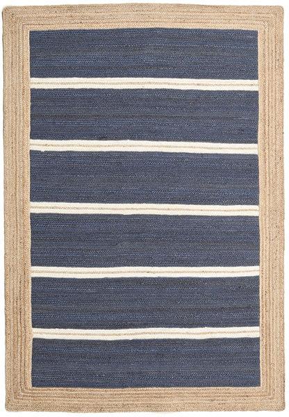 Frida Stripe - Blå Matta 140X200 Äkta Modern Handvävd Blå/Beige ( Indien)