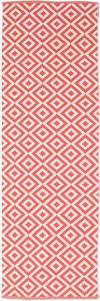 Torun - Coral/Neutral Rug 80X300 Authentic  Modern Handwoven Hallway Runner  Crimson Red/Light Pink (Cotton, India)