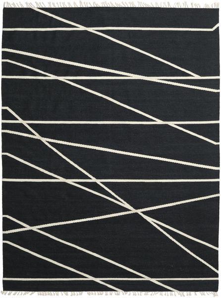 Cross Lines - Zwart/Gebroken Wit Vloerkleed 200X300 Echt Modern Handgeweven Zwart (Wol, India)