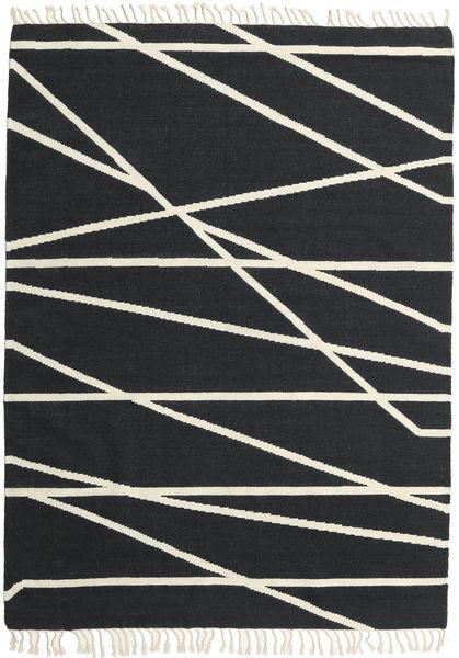 Cross Lines - Negro/Blanco Crudo Alfombra 160X230 Moderna Tejida A Mano Gris Oscuro/Beige (Lana, India)