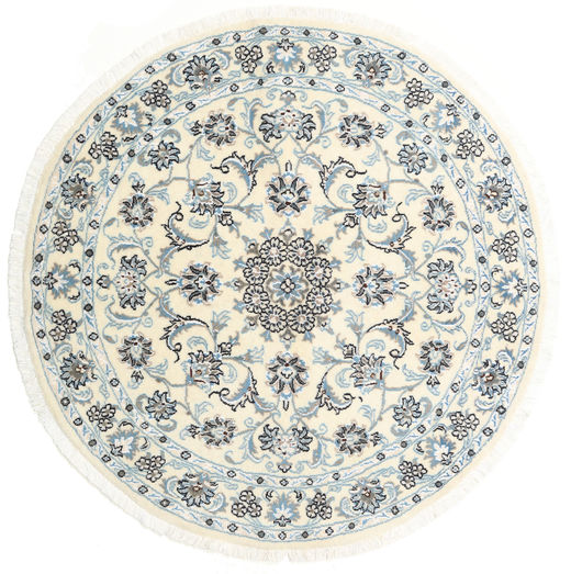 Nain Rug Ø 130 Authentic  Oriental Handknotted Round Beige/Light Grey (Wool, Persia/Iran)