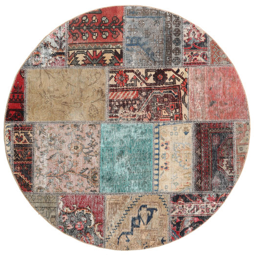 Patchwork Rug Ø 150 Authentic  Modern Handknotted Round Light Brown/Light Grey (Wool, Persia/Iran)