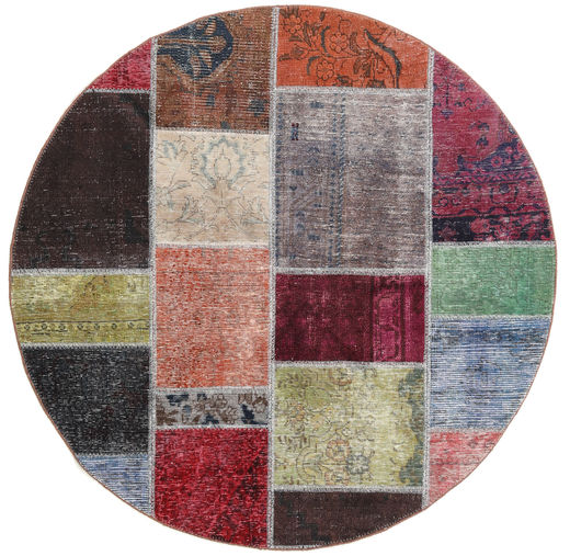 Patchwork Rug Ø 150 Authentic  Modern Handknotted Round Dark Brown/Light Grey (Wool, Persia/Iran)