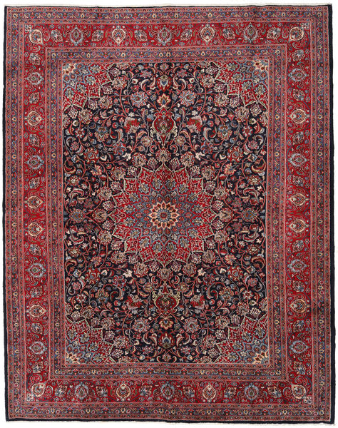 Mashad Matto 297X375 Itämainen Käsinsolmittu Tummanpunainen/Tummanharmaa Isot (Villa, Persia/Iran)