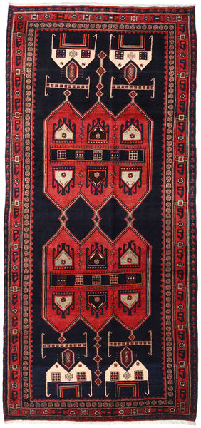Hamadan Χαλι 145X317 Ανατολής Χειροποιητο Χαλι Διαδρομοσ Σκούρο Μωβ/Σκούρο Κόκκινο (Μαλλί, Περσικά/Ιρανικά)