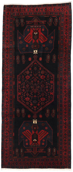 Hamadan Rug 128X302 Authentic  Oriental Handknotted Hallway Runner  Black/Dark Red (Wool, Persia/Iran)