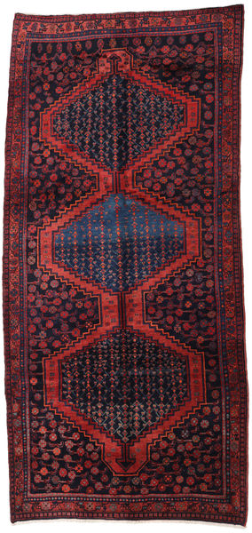 Hamadan Rug 160X347 Authentic  Oriental Handknotted Hallway Runner  Dark Purple/Dark Red (Wool, Persia/Iran)