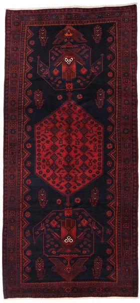 Hamadan Matto 142X305 Itämainen Käsinsolmittu Käytävämatto Tummanvihreä/Tummanpunainen (Villa, Persia/Iran)