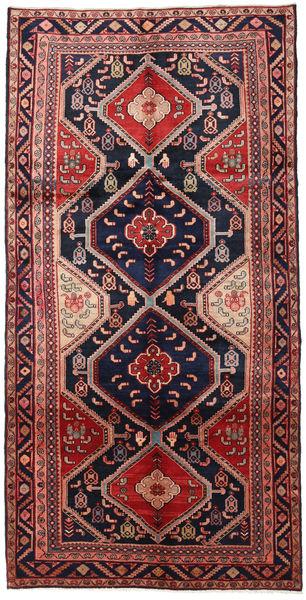 Hamadan Teppich  152X303 Echter Orientalischer Handgeknüpfter Läufer Dunkellila/Rost/Rot (Wolle, Persien/Iran)