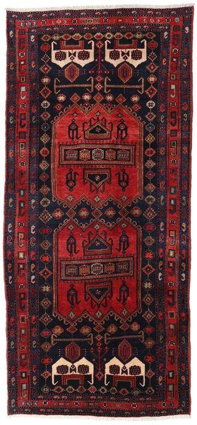 Hamadan Rug 134X294 Authentic  Oriental Handknotted Hallway Runner  Dark Red/Dark Green (Wool, Persia/Iran)