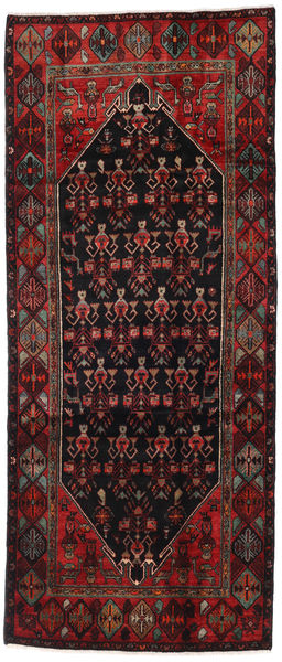 Hamadan Matto 123X287 Itämainen Käsinsolmittu Käytävämatto Musta/Tummanpunainen (Villa, Persia/Iran)