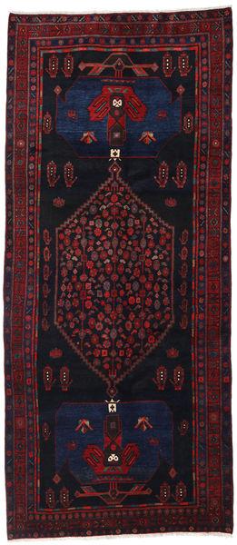 Hamadan Matto 133X313 Itämainen Käsinsolmittu Käytävämatto Tummanvioletti/Tummanpunainen (Villa, Persia/Iran)