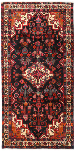 Hamadan Rug 144X292 Authentic  Oriental Handknotted Hallway Runner  Black/Dark Red (Wool, Persia/Iran)
