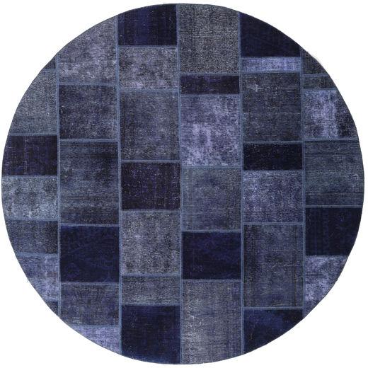 Patchwork Matto Ø 254 Moderni Käsinsolmittu Pyöreä Tummanvioletti Isot (Villa, Persia/Iran)