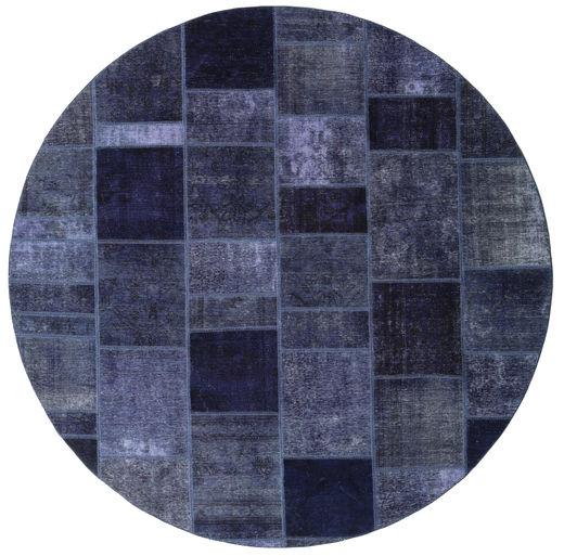 Patchwork Matto Ø 256 Moderni Käsinsolmittu Pyöreä Tummanvioletti/Sininen Isot (Villa, Persia/Iran)