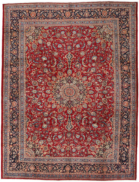 Mashad Rug 302X395 Authentic  Oriental Handknotted Brown/Light Grey Large (Wool, Persia/Iran)