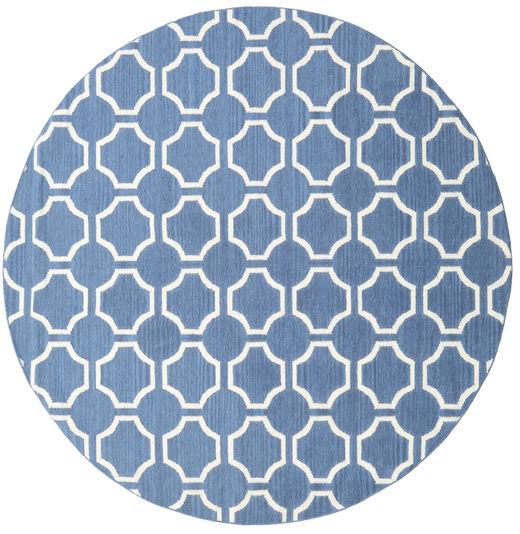 London - Niebieski/Kość Słoniowa Dywan Ø 225 Nowoczesny Tkany Ręcznie Okrągły Niebieski/Biały/Creme (Wełna, Indie)