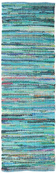 Ronja - Grön Matta 80X250 Äkta Modern Handvävd Hallmatta Turkosblå/Turkosblå (Bomull, Indien)