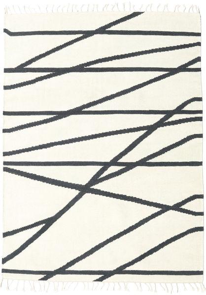 Cross Lines - Valkea/Musta Matto 140X200 Moderni Käsinkudottu Beige/Tummanharmaa (Villa, Intia)
