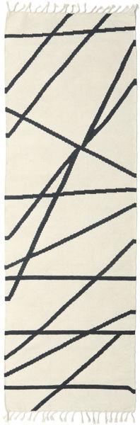 Cross Lines - オフホワイト/黒 絨毯 80X250 モダン 手織り 廊下 カーペット ベージュ/濃いグレー (ウール, インド)