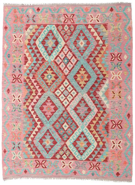 Kilim Afghan Old Style Rug 131X175 Authentic  Oriental Handwoven Light Pink/Light Brown (Wool, Afghanistan)