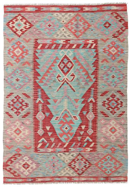 Kilim Afghan Old Style Rug 122X174 Authentic  Oriental Handwoven Light Grey/Rust Red (Wool, Afghanistan)