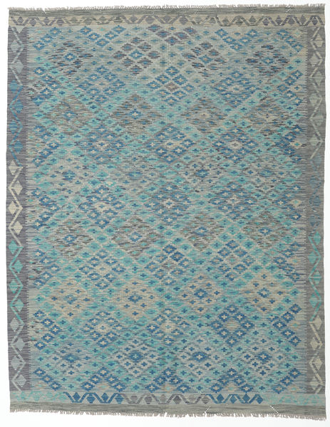 Kilim Afghan Old Style Rug 193X245 Authentic  Oriental Handwoven Light Grey/Dark Turquoise   (Wool, Afghanistan)