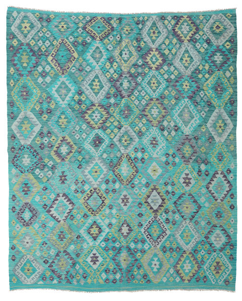 Kilim Afghan Old Style Rug 203X245 Authentic  Oriental Handwoven Dark Turquoise  /Turquoise Blue (Wool, Afghanistan)