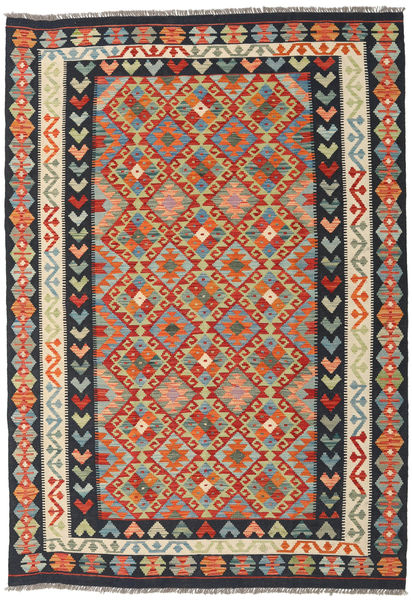 Kilim Afghan Old Style Rug 174X249 Authentic  Oriental Handwoven Dark Grey/Orange (Wool, Afghanistan)