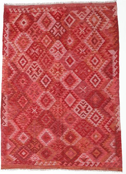 Kilim Afghan Old Style Rug 173X244 Authentic  Oriental Handwoven Dark Red/Rust Red (Wool, Afghanistan)