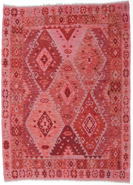 Kilim Afghan Old Style Rug 185X253 Authentic  Oriental Handwoven Crimson Red/Pink (Wool, Afghanistan)