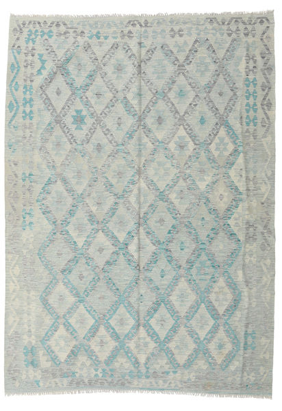Kilim Afghan Old Style Rug 210X288 Authentic  Oriental Handwoven Light Grey (Wool, Afghanistan)
