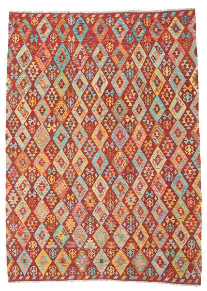 Kilim Afghan Old Style Rug 213X291 Authentic  Oriental Handwoven Dark Red/Orange (Wool, Afghanistan)