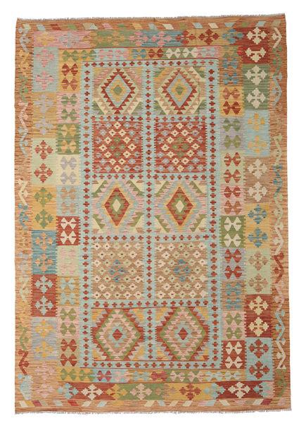 Kilim Afghan Old Style Rug 206X297 Authentic  Oriental Handwoven Light Brown/Light Grey (Wool, Afghanistan)