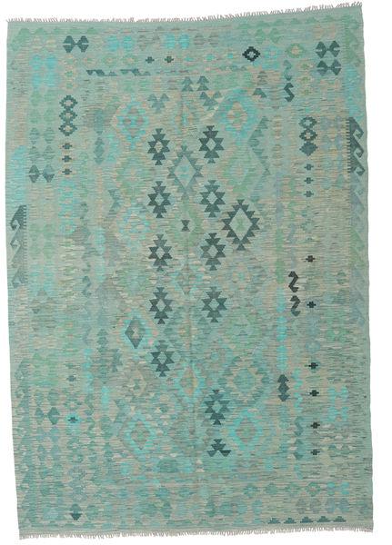 Kilim Afghan Old Style Alfombra 205X291 Oriental Tejida A Mano Azul Turquesa/Verde Pastel/Gris Claro (Lana, Afganistán)