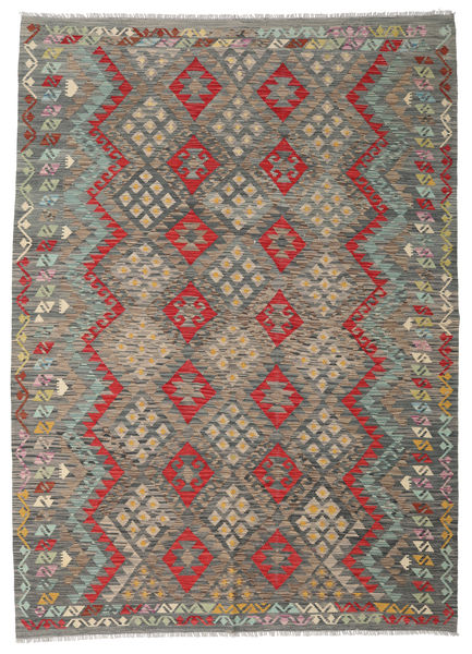 Kilim Afghan Old Style Rug 211X292 Authentic  Oriental Handwoven Light Brown/Dark Grey (Wool, Afghanistan)