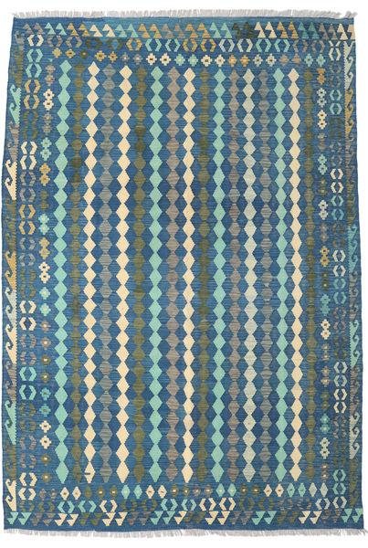 Kilim Afghan Old Style Alfombra 203X290 Oriental Tejida A Mano Azul/Azul Oscuro (Lana, Afganistán)
