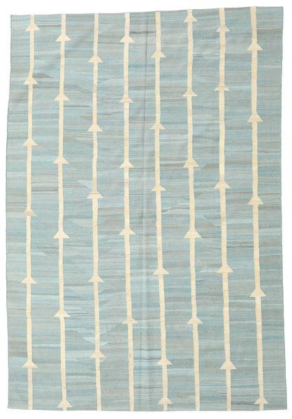 Kelim Moderni Matto 194X281 Moderni Käsinkudottu Vaaleanharmaa/Pastellinvihreä (Villa, Afganistan)