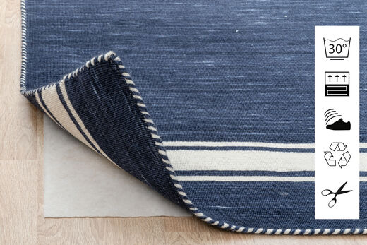 Anti Slip, Non-Woven Rug 80X300 Modern Hallway Runner  Blue/Light Grey ( Belgium)