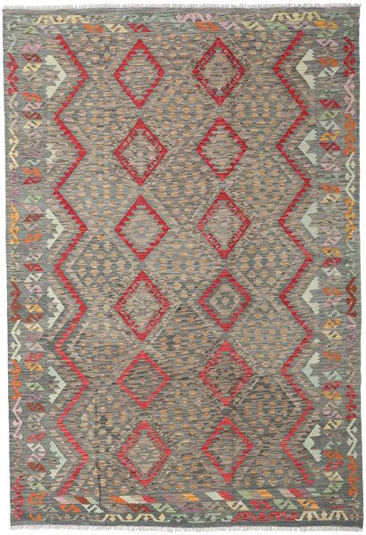 Kilim Afghan Old Style Rug 202X297 Authentic  Oriental Handwoven Light Grey/Dark Grey (Wool, Afghanistan)